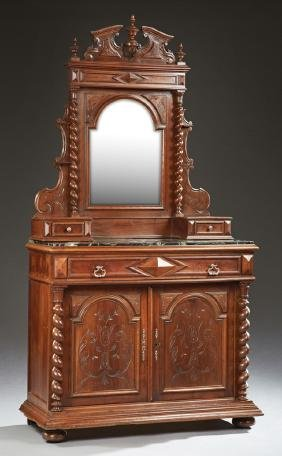 French Louis XIII Style Carved Walnut Marble Top