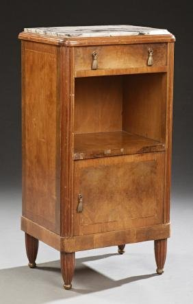 French Art Deco Carved Walnut Marble Top Nightstand,