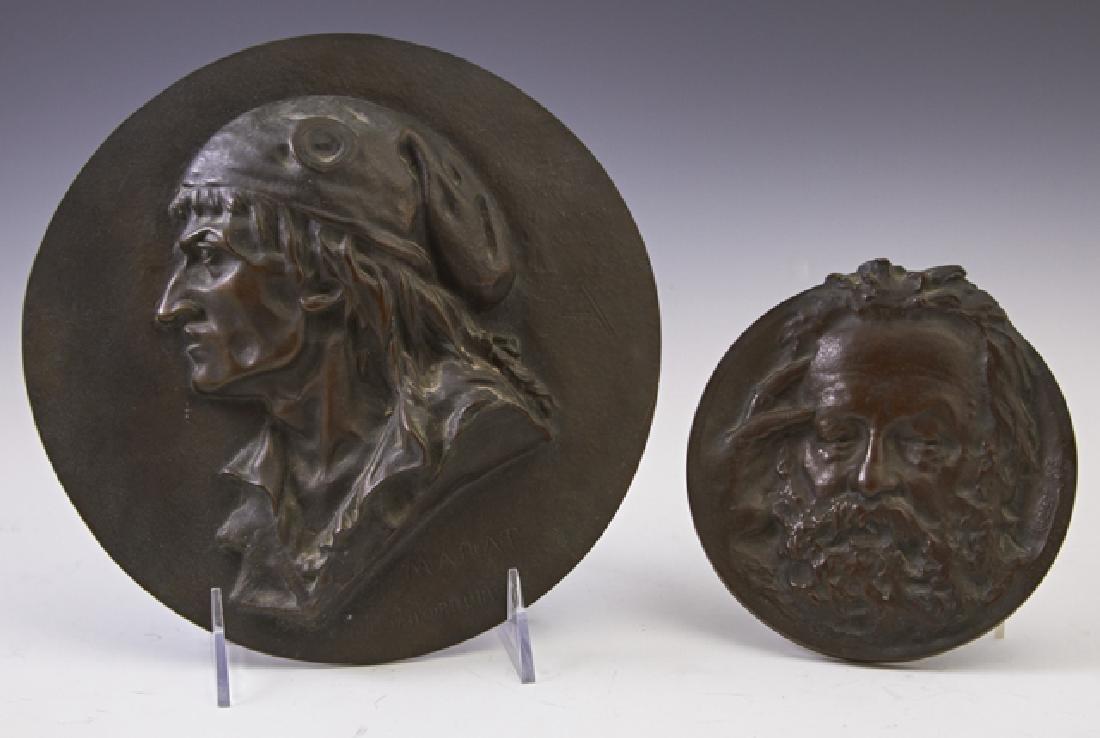 "Two Bronze Relief Medallions, ""Marat,"" by Leon J."
