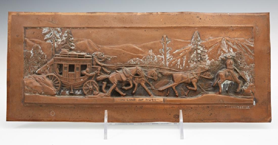 """H. Rupp, """"In Line of Duty,"""" Copper Repousse Wells"""