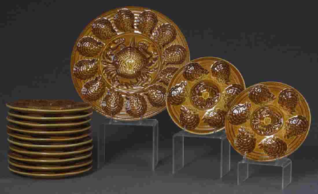 French Thirteen Piece Ceramic Oyster Set, 20th c.,