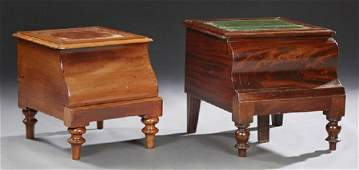 Two English Carved Mahogany Bedside Step Commodes,
