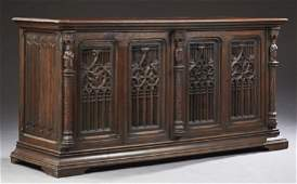 French Carved Oak Gothic Sideboard, 19th c., the s