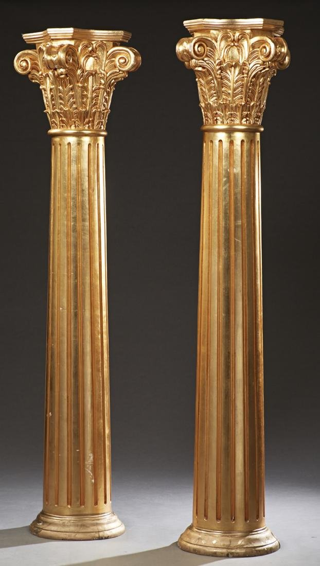 Pair of French Carved Giltwood Corinthian Columns,