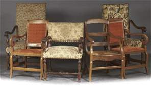 Group of Six French Carved Walnut Armchairs, 19th
