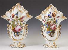 Pair of Old Paris Porcelain Flare Vases 19th c