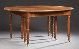 French Louis Philippe Carved Walnut Oval Dining Table,