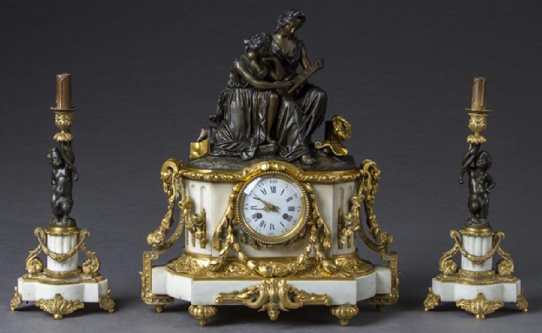 Exceptional Three Piece Gilt and Patinated Bronze and