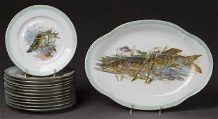 French Limoges Thirteen Piece Fish Set, early 20th c.,