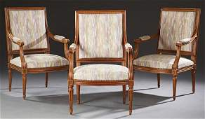 Set of Three French Louis XVI Style Carved Walnut