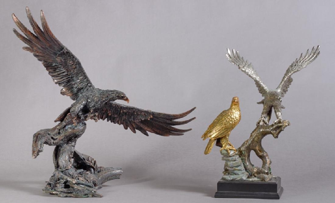 Two Patinated Metal Eagle Sculptures, 20th c., one with