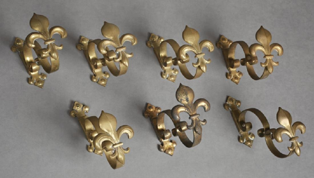 Set of Seven French Brass Curtain Tiebacks, late 19th