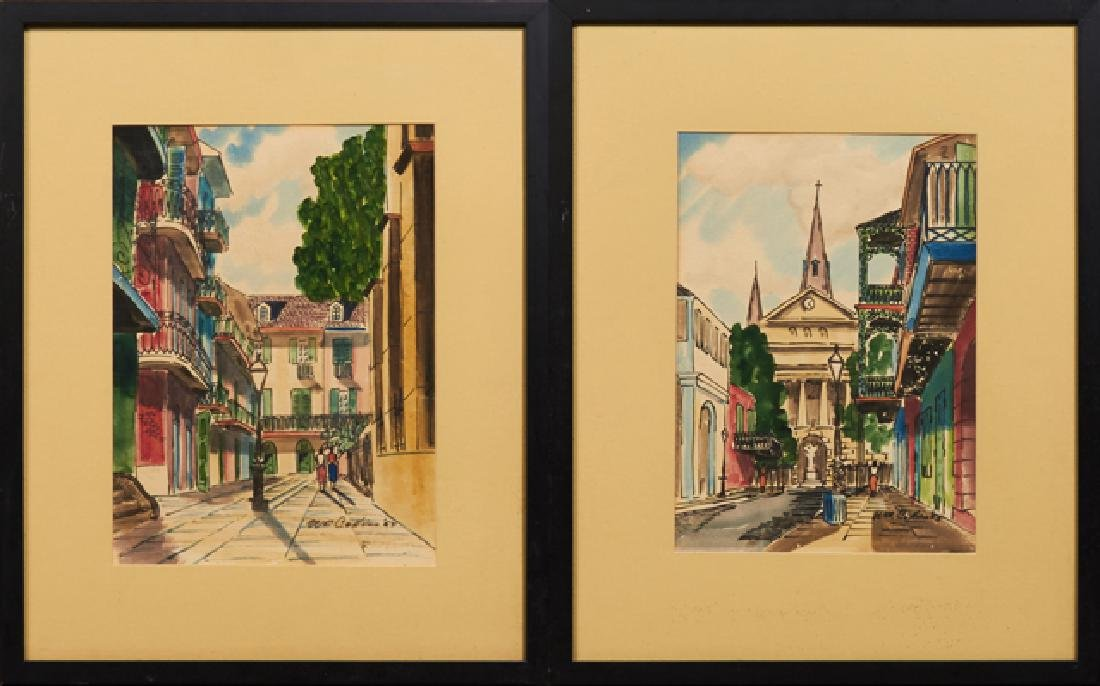 """William Collins, """"St. Louis Cathedral from Dumaine St."""""""