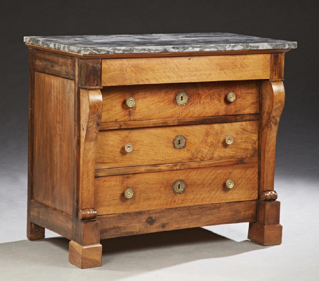 French Empire Style Carved Walnut Marble Top Commode,