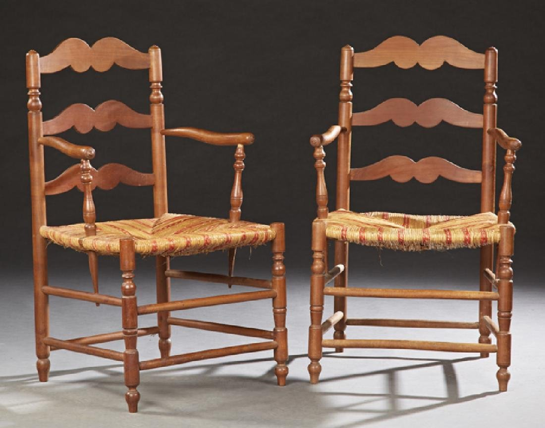Pair of French Provincial Carved Cherry Rushseat