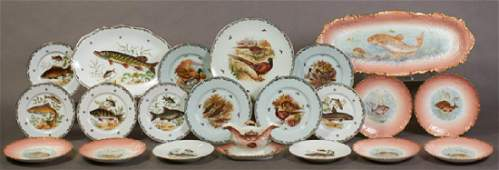 Three French Limoge Partial Sets, early 20th c.,