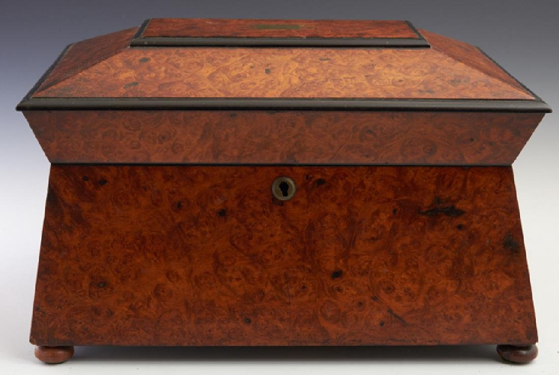 Large English Burled Walnut Dresser Box, 19th c., of