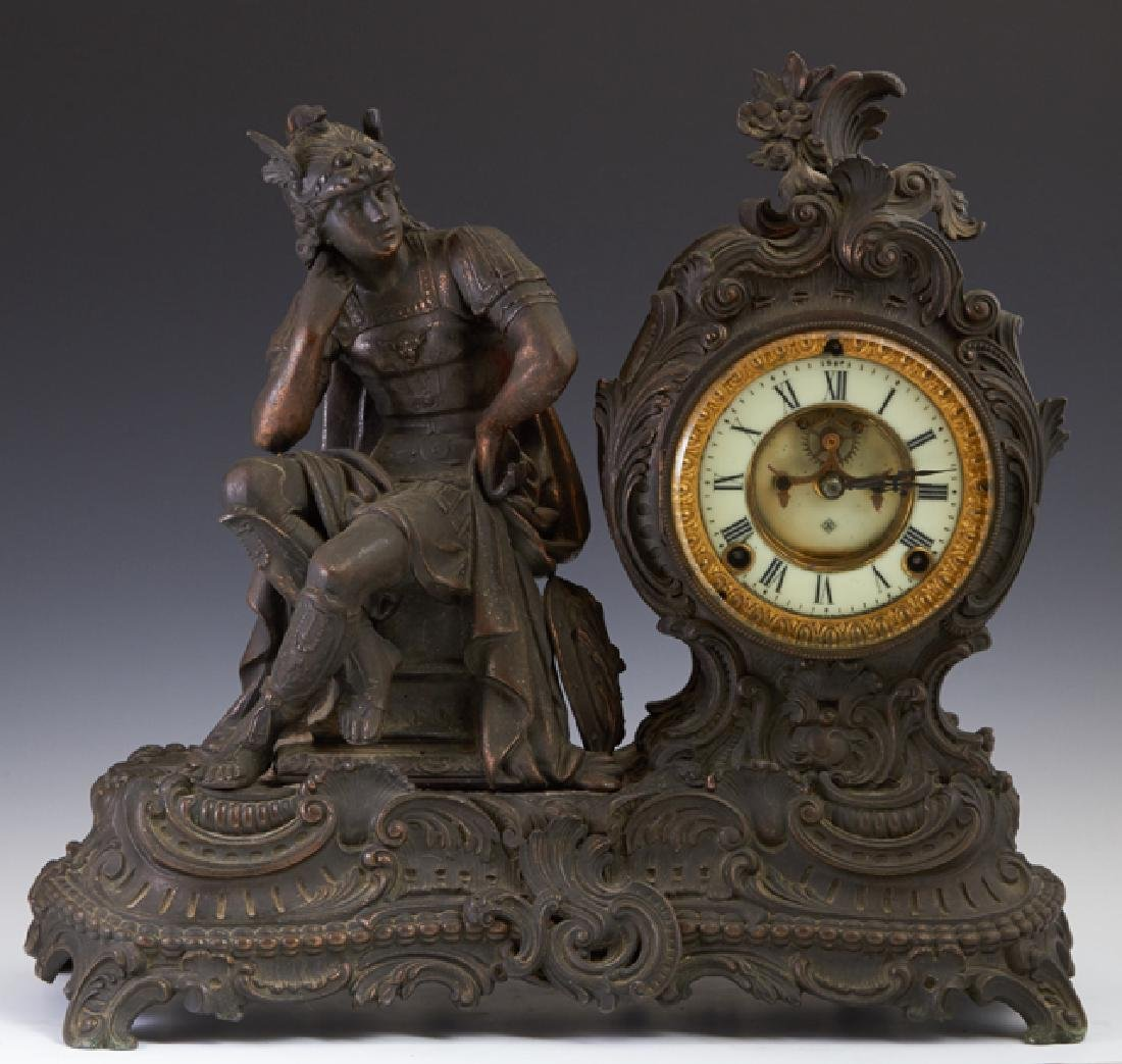 Ansonia Patinated Spelter Mantle Clock, early 20th c.,