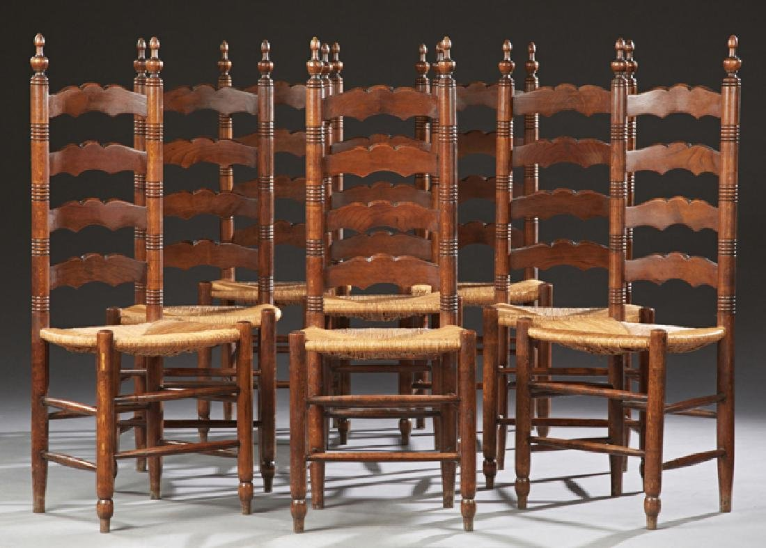 Set of Eight French Provincial Carved Beech Ladderback