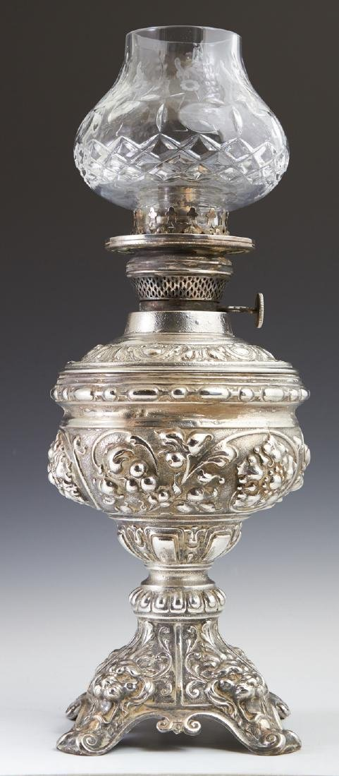 Dutch Silvered Spelter Oil Lamp, late 19th c., by J.J.
