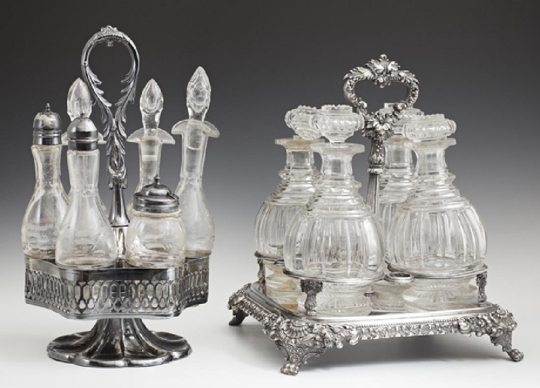Two Silverplated Cut Glass Sets, 20th c., one a six