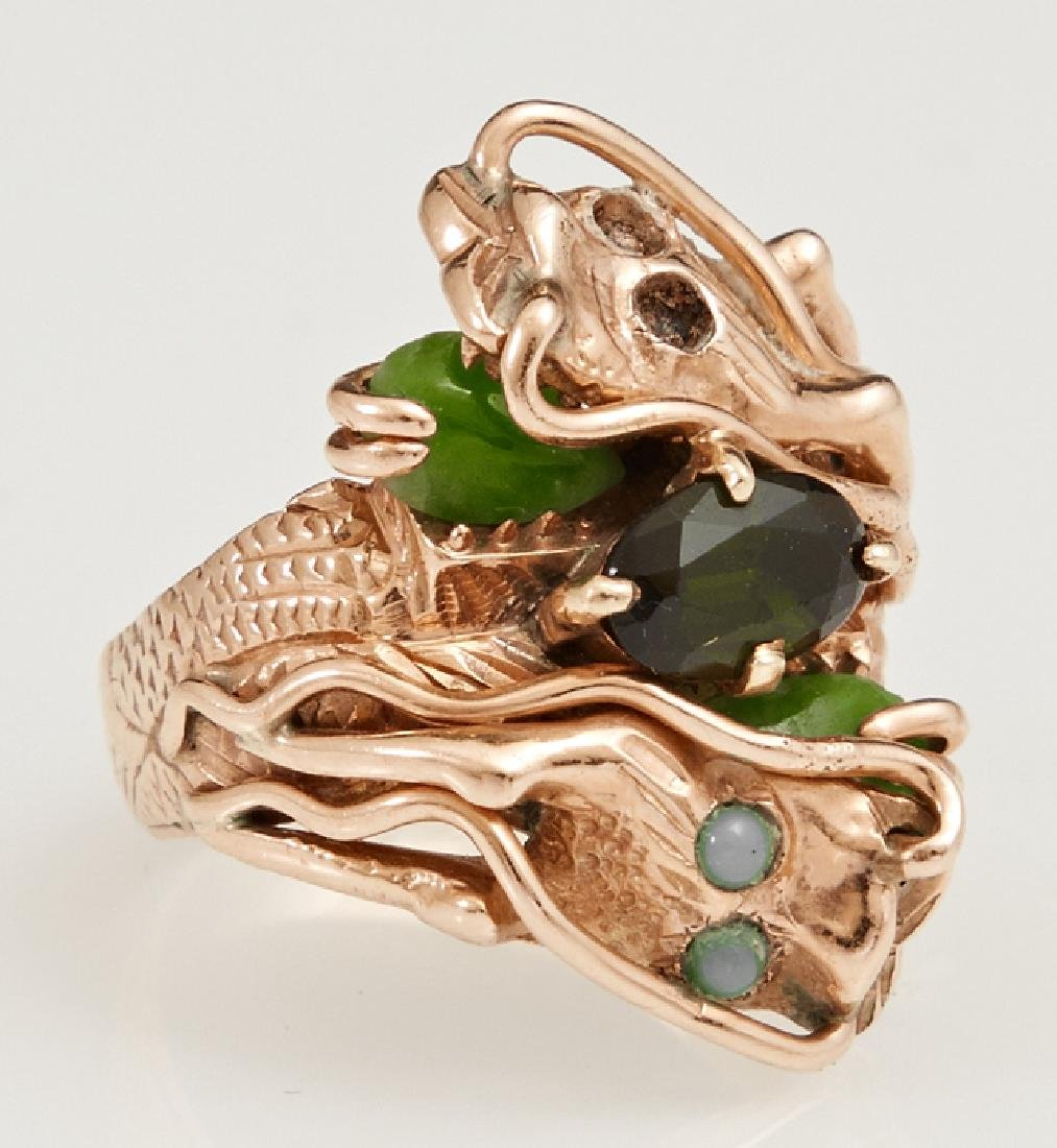 Lady's 14K Yellow Gold Dragon Ring, mid 20th c.,