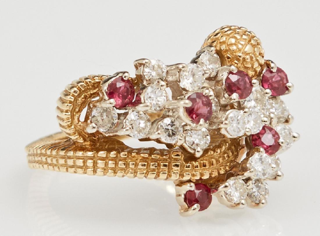 Lady's 18K Yellow Gold Snake Ring, c. 1960, mounted
