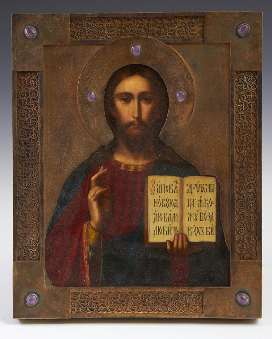 Russian Icon of Christ Pantocrator, Moscow, 19th c.,
