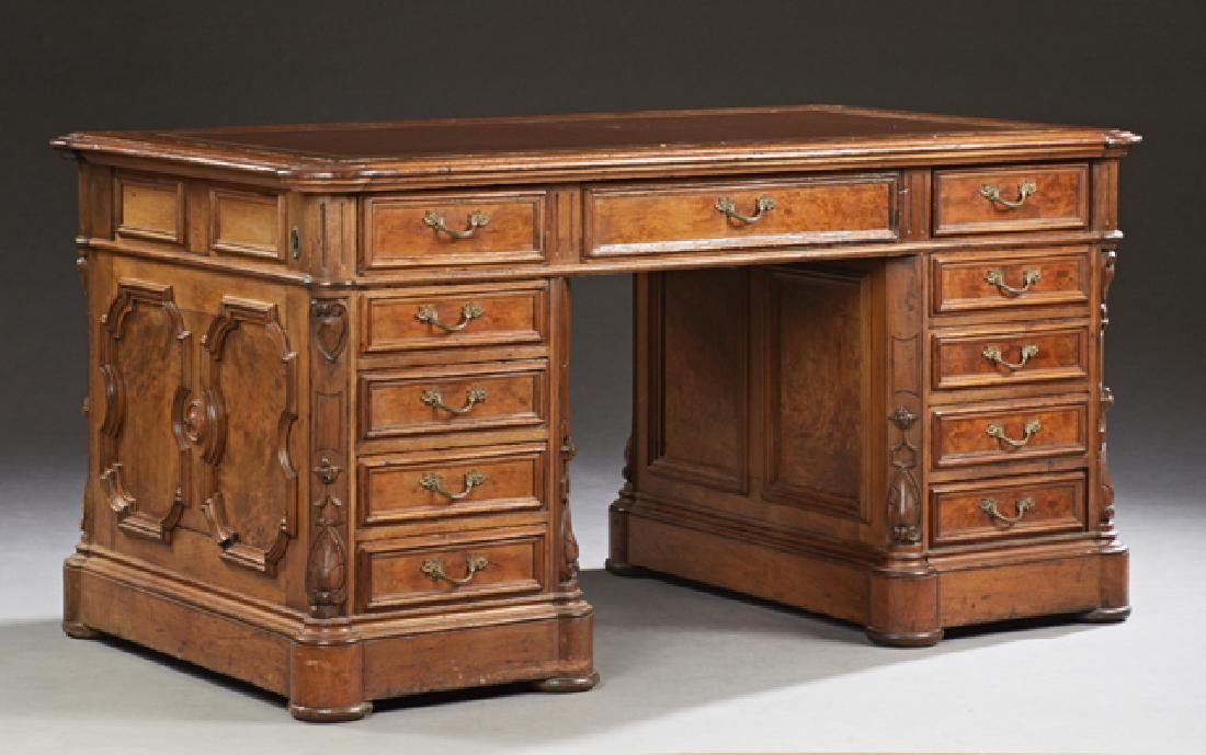 American Carved Burled Walnut Desk, 19th c, the stepped