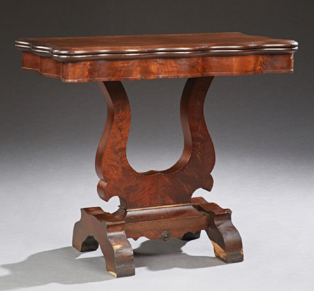 American Classic Carved Oak and Mahogany Games Table,