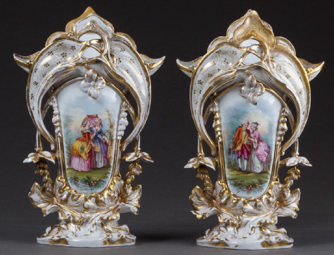 Pair of Large Old Paris Porcelain Flare Vases, 19th