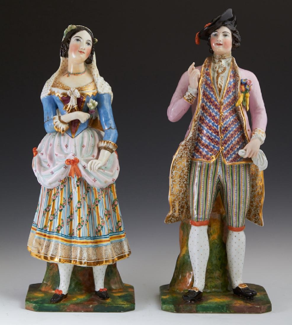Pair of Old Paris Style Gilt and Polychromed Porcelain
