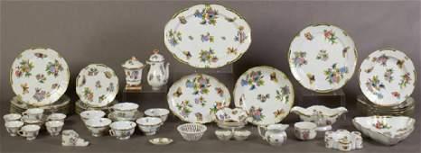 SixtyOne Piece Set of Herend Porcelain Dinnerware
