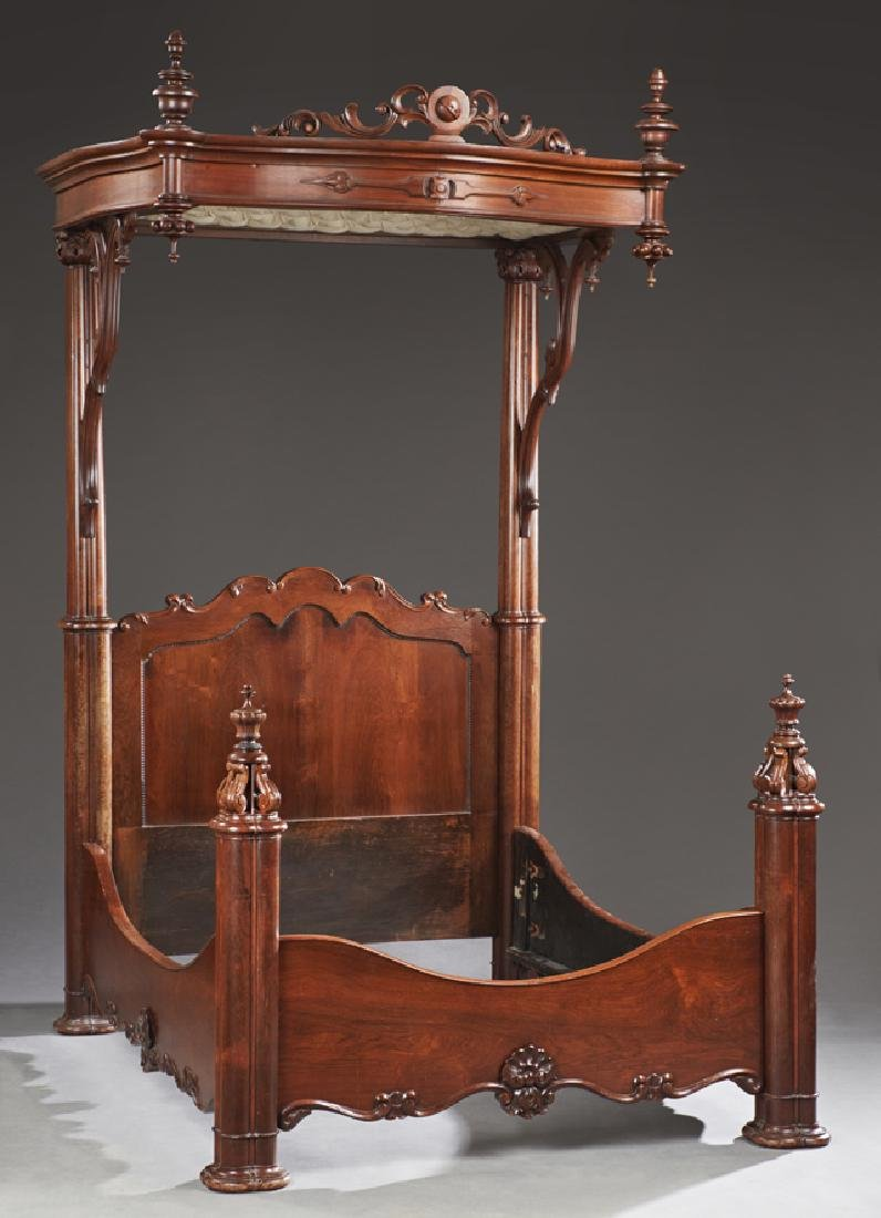 American Rococo Carved Rosewood Half Tester Bed, c.