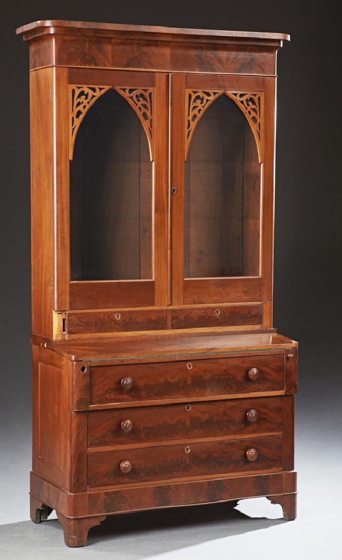 American Carved Mahogany Secretary Bookcase, 19th c.,