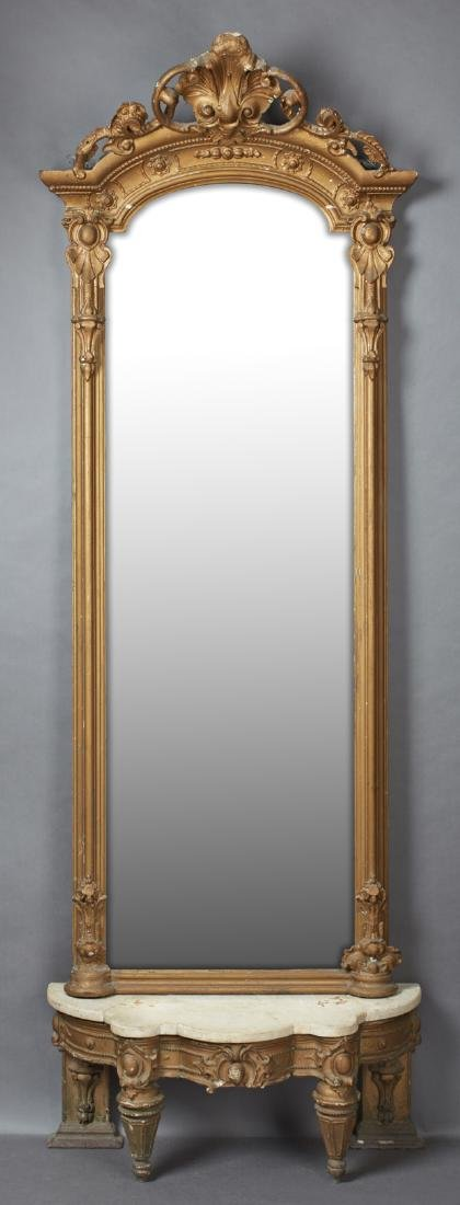 American Victorian Gilt and Gesso Pier Mirror and