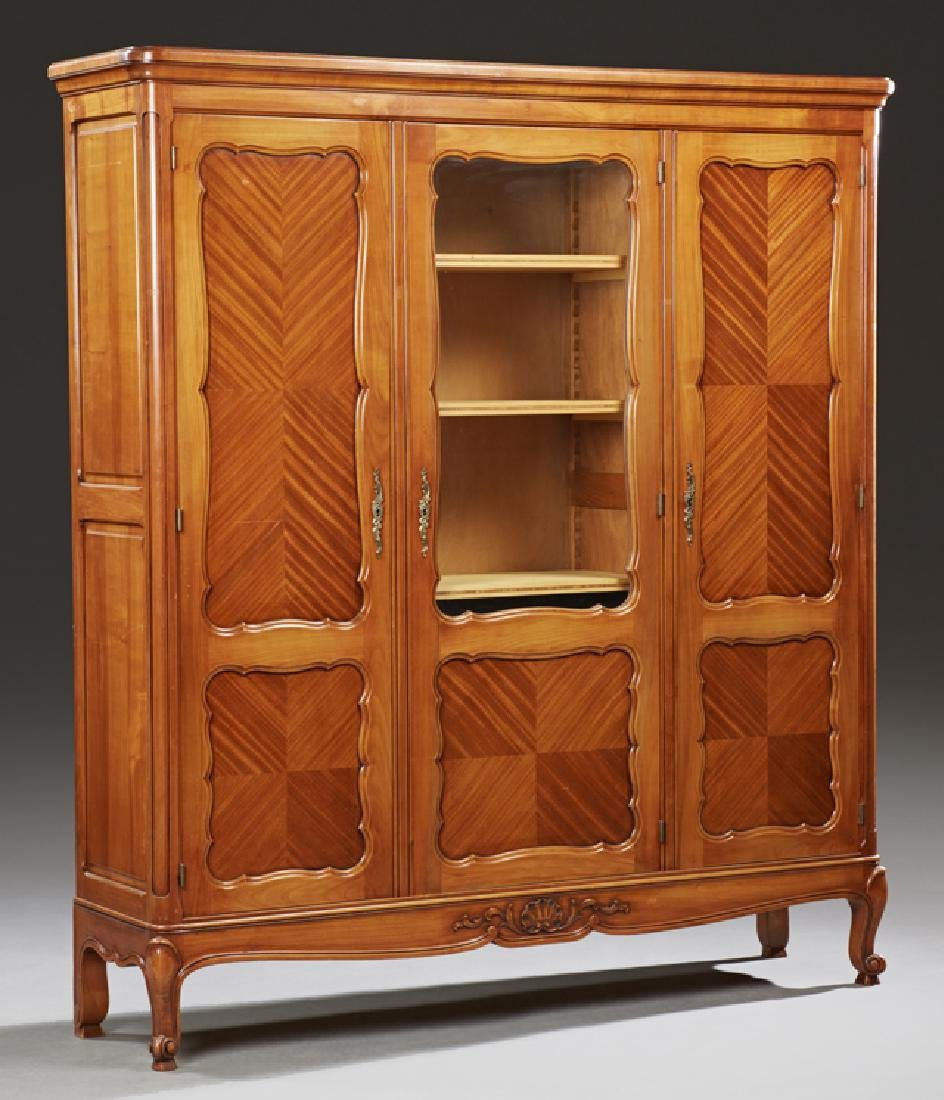 French Louis XV Style Carved Cherry Bookcase, 20th c.,