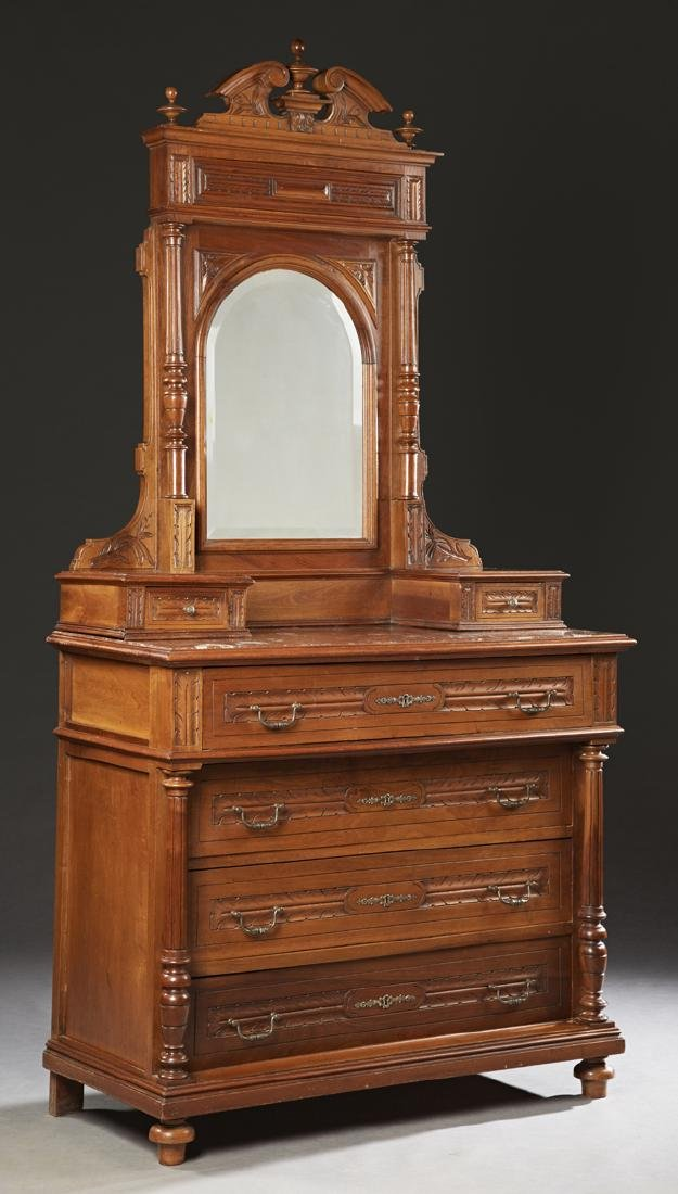 French Henri II Style Carved Walnut Commode, 19th c.,