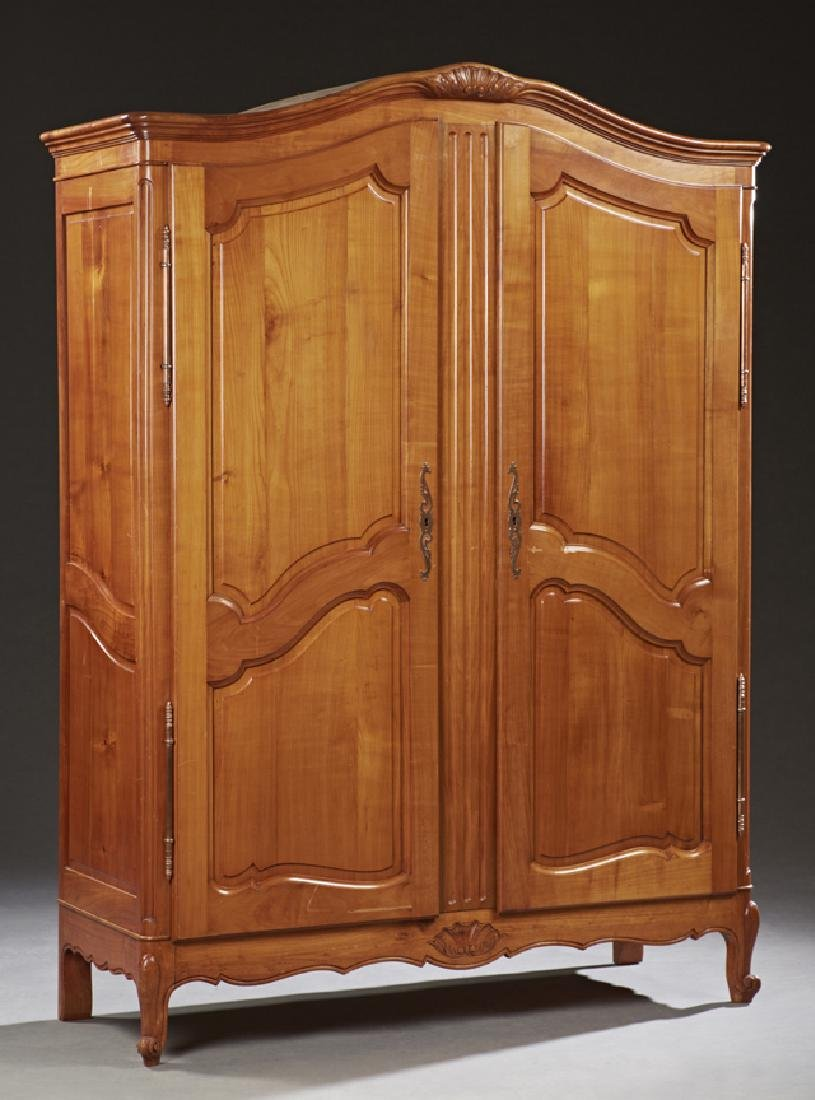 French Louis XV Style Carved Cherry Armoire, 20th c.,