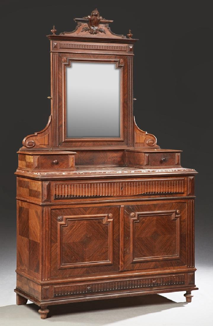 Henri II Style Carved Mahogany Marble Top Dresser, 19th