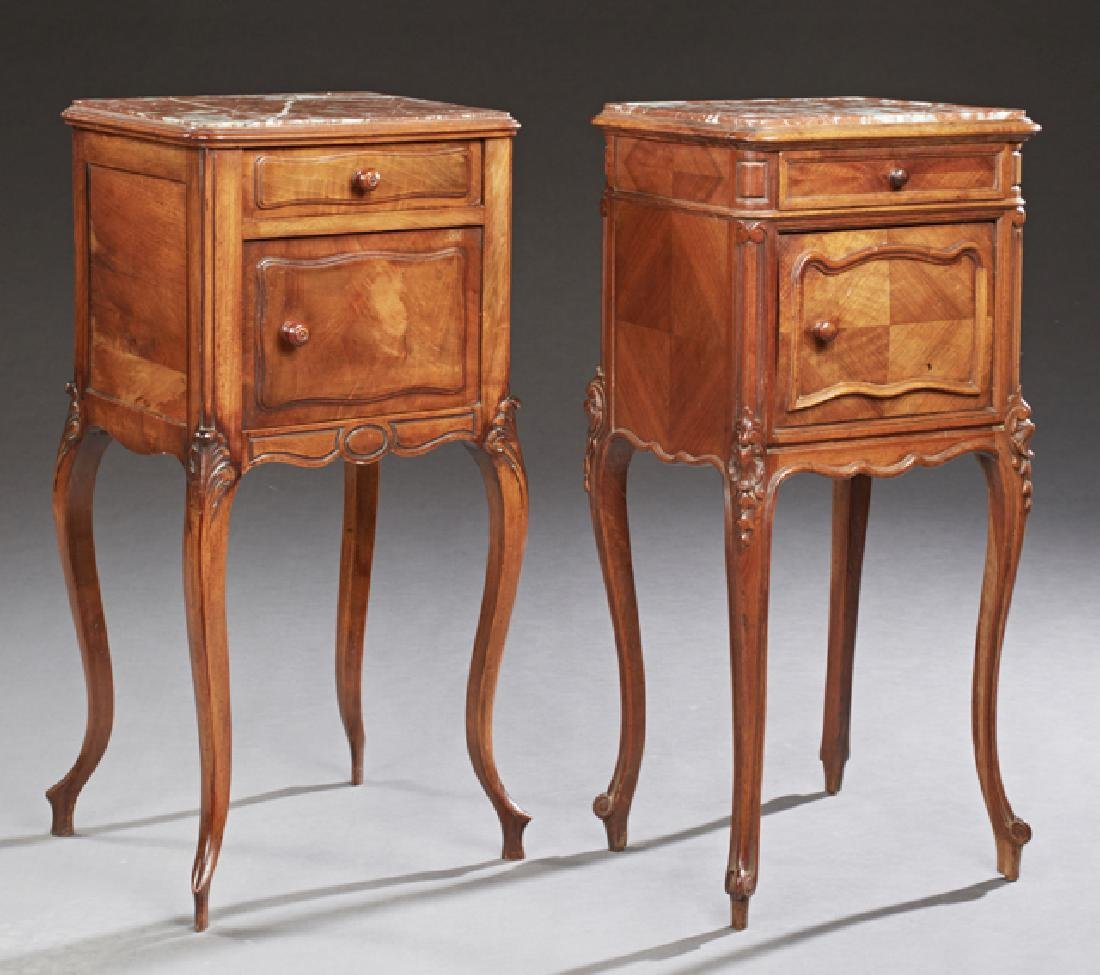 Near Pair of French Louis XV Style Marble Top