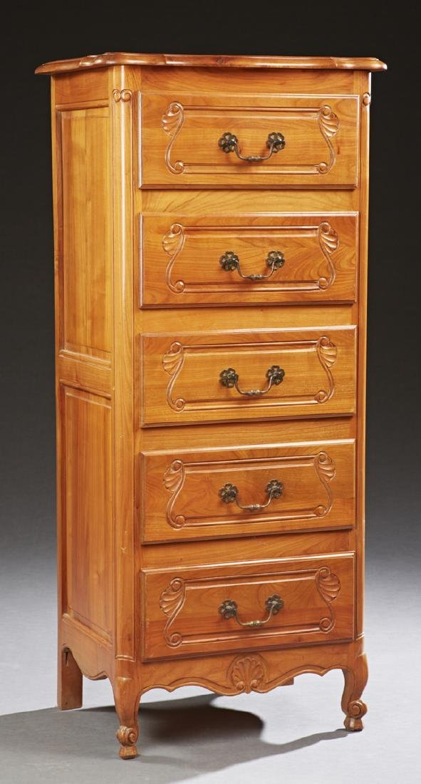 French Louis XV Style Carved Cherry Tall Chest, 20th