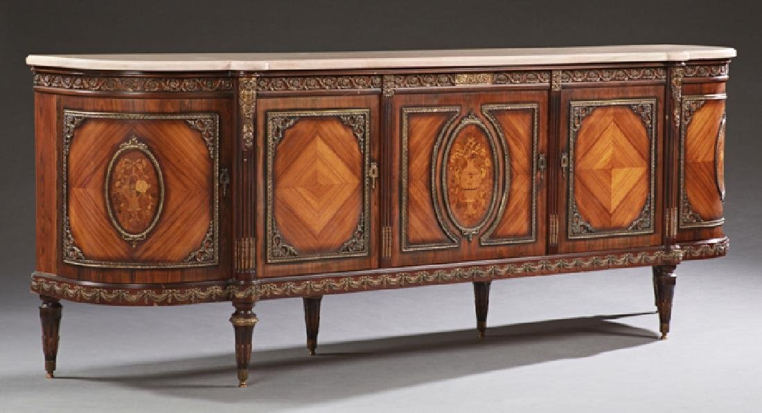 French Louis XVI Style Carved Mahogany Marble Top