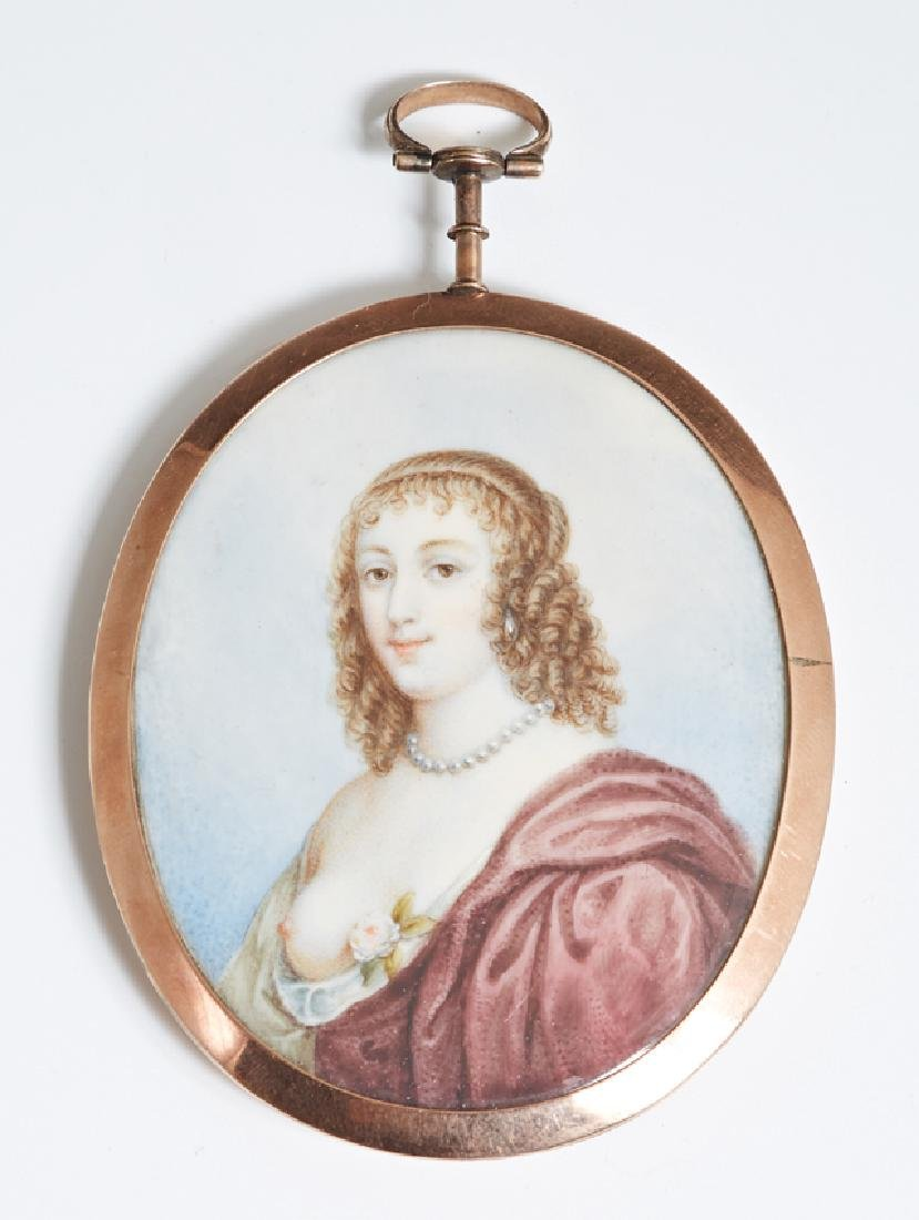 """Continental School, """"Portrait Miniature of a Woman with"""
