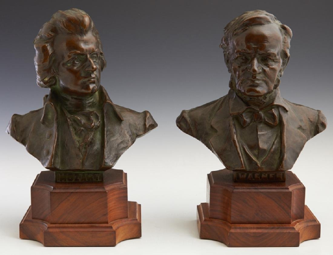 """Austrian School, """"Wagner,"""" and """"Mozart,"""" c. 1900, two"""