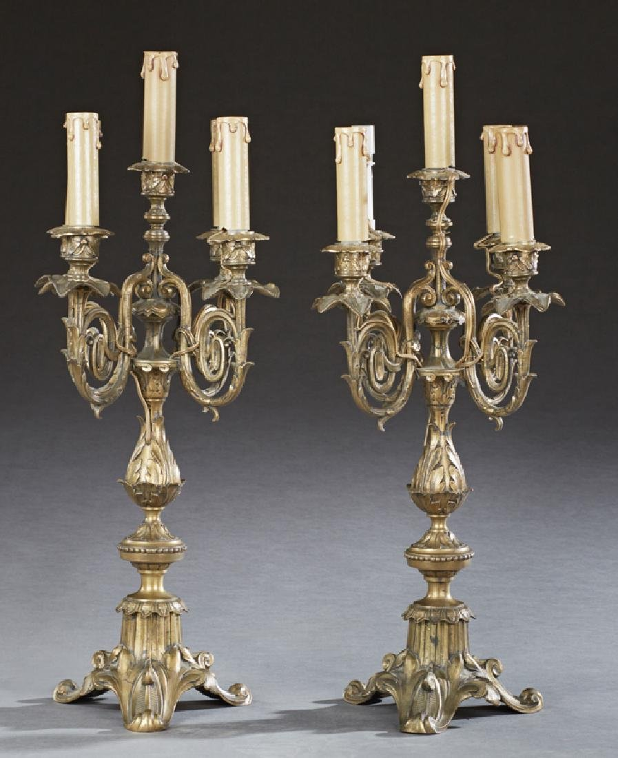 Pair of French Bronze Five Light Louis XVI Style