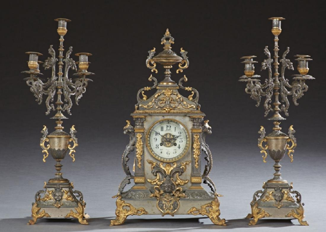 French Louis XV Style Gilt and Patinated Spelter Three