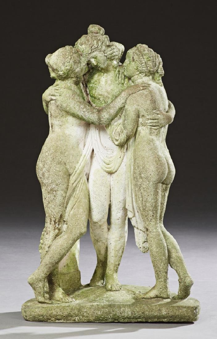 Cast Stone Figural Group of the Three Graces, 20th c.,