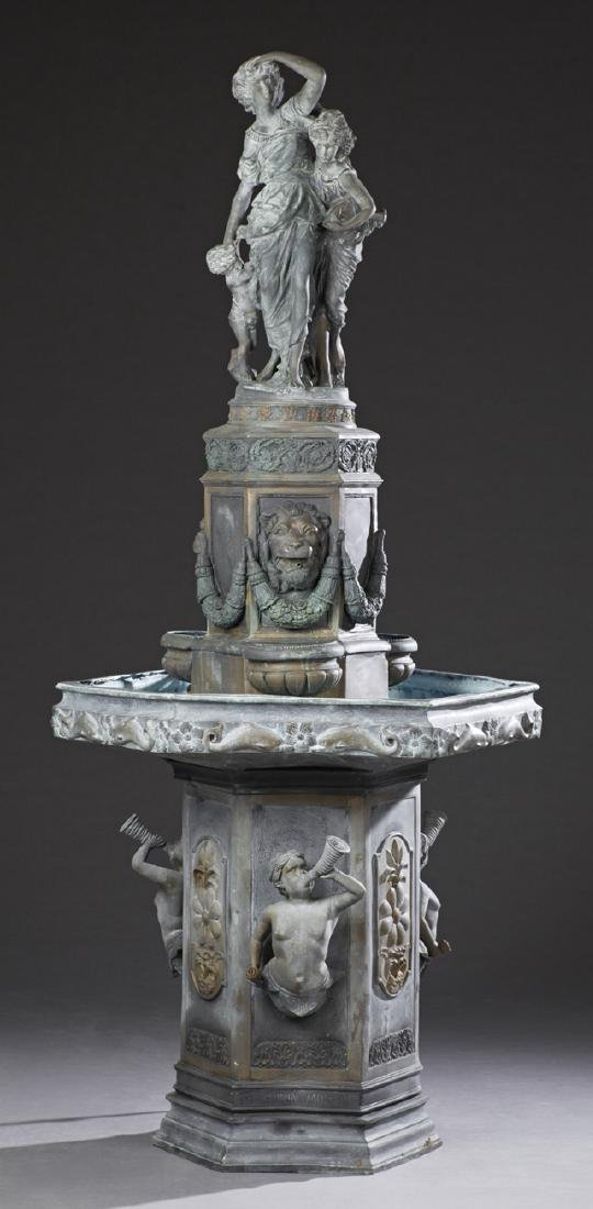 Large Patinated Bronze Fountain, 20th c., with a