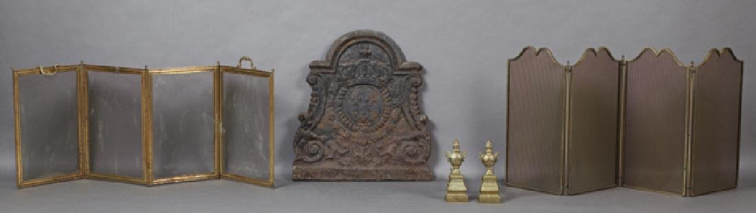 Group of Four French Fireplace Items, consisting of two